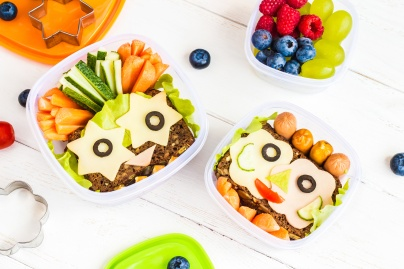 School lunch box for kids. Top view